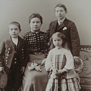 Antique German Cabinet Card-Mother & 3 Children-Young Girl with Badminton Racket