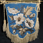 Antique Victorian Tabletop Beaded Face Screen Fire Screen on Stand
