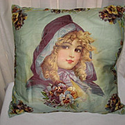 Rare Antique Frances Brundage Lithograph Pillow-Young Girl in Purple Cape with Pansies