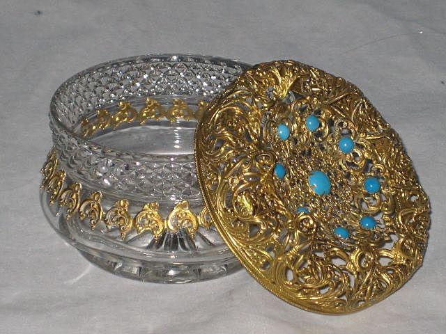 Antique Jeweled Top Glass Powder Vanity Jar with Ornate Gold Gilt Filigree-1 of 2