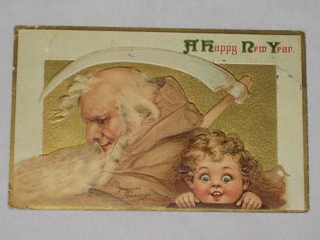 1913 Embossed Brundage New Year Postcard with Father Time & Young Girl-With Panama-Pacific Exposition San Francisco 1915 Stamped Date