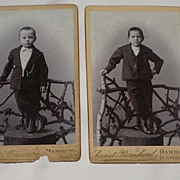 2 Antique Victorian Small Cabinet Cards-Each with One Young Boy on Tree Trunk-Hamburg, Germany