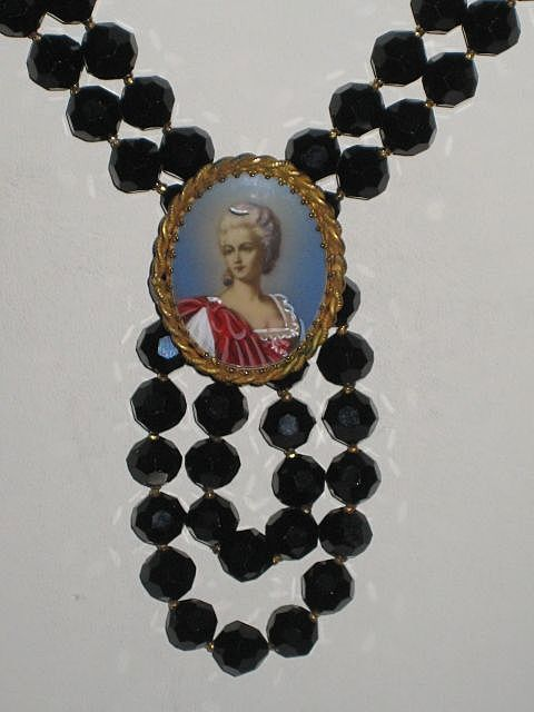 "Exquisite ""Original by Robert"" Jet Black Faceted HP Cameo Necklace w/Beautiful Woman"