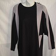 Vintage 1960's Color Block Sheath Dress with Dolman Sleeves-Black & Light Gray-Sz. 7/8