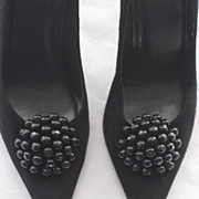 """Stuart Weitzman Suede & Patent Stiletto Shoes with 4"""" Heels & Beaded Shoe Clips-Size 7 ½ M-Never Used"""