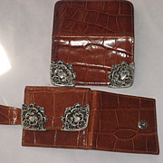 """DO NOT BUY-ON HOLD FOR """"D""""-2 Piece 1980's Ann Turk Moc Croc Leather Wallet & Card Holder w/Ornate Pewter Trim"""
