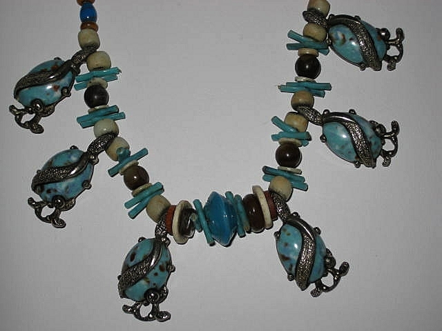 Vintage Aqua Glass Stone Choker Necklace