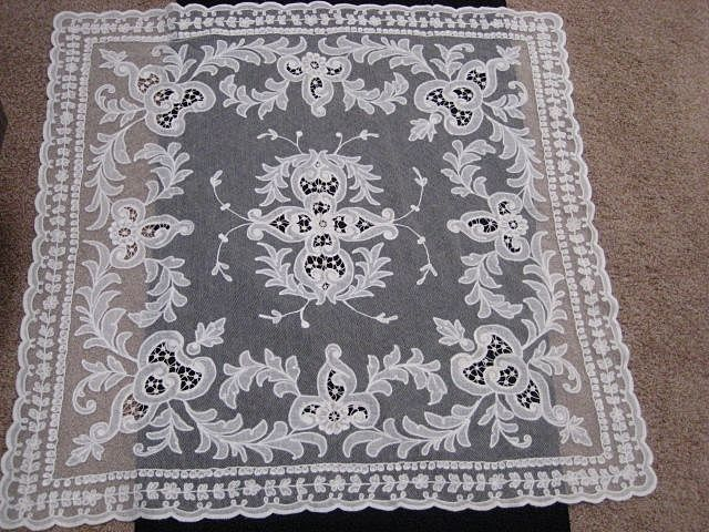 ON HOLD UNTIL 3/28/17-1930's Creamy White Tambour Net Lace Table Topper w/Organdy Insets-1 of 2