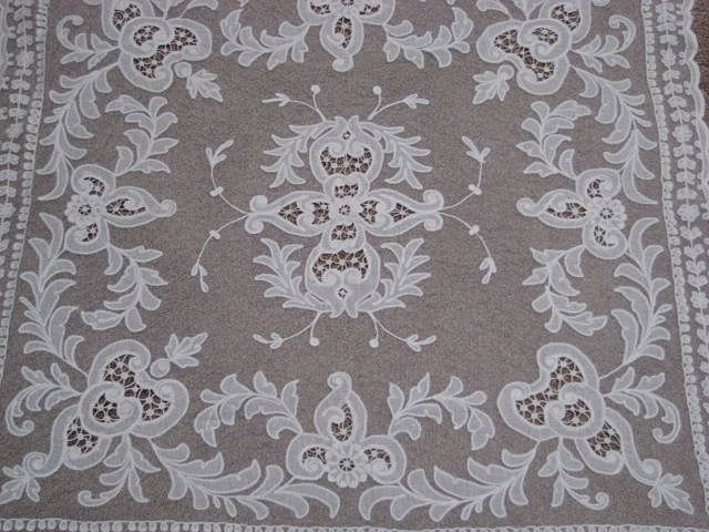 ON HOLD UNTIL 3/28/17-1930's Creamy White Tambour Net Lace Table Topper with Organdy Insets-2 of 2