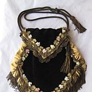 C. 20's Black Velvet Purse w/French Ribbon Work, Metallic Fringe & Trim w/Tasseled Metallic Rope