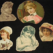 Five Antique Victorian Scraps from Late 1800's Scrap Book-Young Ladies & Young Child