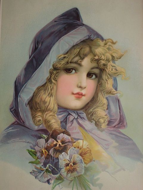 Antique Frances Brundage Chromolithograph Print Of Young