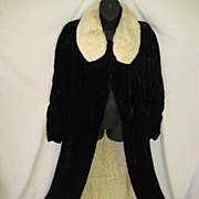 1930's Black Silk Velvet Opera Length Coat with Ermine Collar by Myer Siegel