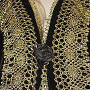 Vintage Bryan Emerson Velvet & Gold Metallic Vest w/ Netted Back-Never Used