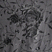 Black on Black Silk Piano Shawl Covered in Large & Small  Roses with Knotted Fringe