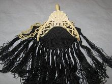 Art Deco 1920's Cream Celluloid Purse with Long Black Crochet Fringe