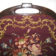Vintage French Floral Needlepoint Purse w/Faux Tortoiseshell Lucite Handle-Never Used