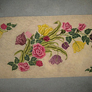 "Stunning 1930's Hand Hooked Floral Rug - 78""L X 32"" W"