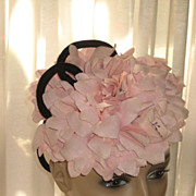 1940's Tilt Top Hat with Pink Fabric Flowers & Two Black Velvet Loops