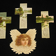 3 Antique Tuck Floral Crosses w/Psalms/Prayers & 1 Lrg Winged Angel