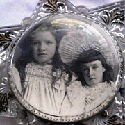 Victorian Glass Domed Magnifier Paper Weight with 2 Children