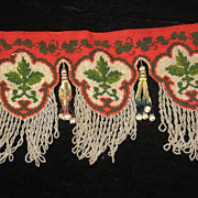 Antique French Needlepoint & Beadwork Valance with Chenille Tassels & Beaded Fringe