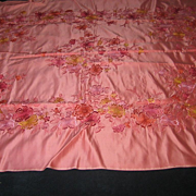 Vintage Pink Satin Tablecloth with Multi-Colored Embroidered Flowers