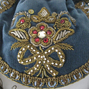 1920's-30's French Blue Velvet Drawstring Purse w/Gold Metallic, Beads & Sequin Detail-Never Used