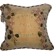 Victorian Hand Painted Pansies Velveteen Pillow w/Tassels & Twisted Rope Trim - Red Tag Sale Item
