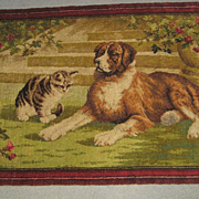 1918 Axminster Wool Rug with St. Bernard & Cat-3x5+