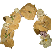 Antique Velveteen & Cloth Floral Garland for Tiara or Dress