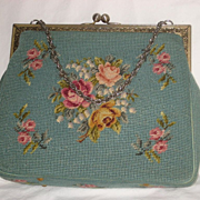 Vintage Aqua Petit Point & Needlepoint Roses Purse-2 Sided