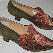 1980's Maud Frizon Paris Brocade & Olive Green Suede Shoes-Size 37 1/2-U.S. 7