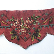 Antique Needlepoint Beadwork Valance-Deep Rose Color