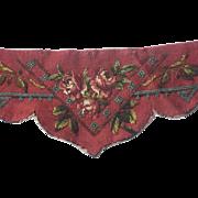 Antique Needlepoint Beadwork Valance-Deep Rose Color