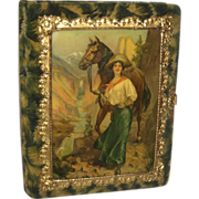 Victorian Celluloid Photo Album with Gun Toting Cowgirl & her Horse