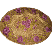 1920's Matyo Large Oval Doily in Purple & Gold
