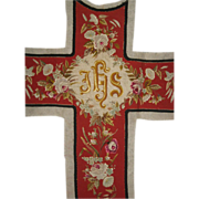 Museum Quality Antique 2 Piece Red Floral Needlepoint & Embroidered Crucifix & Separate Decorative Piece for Chasuble Vestment