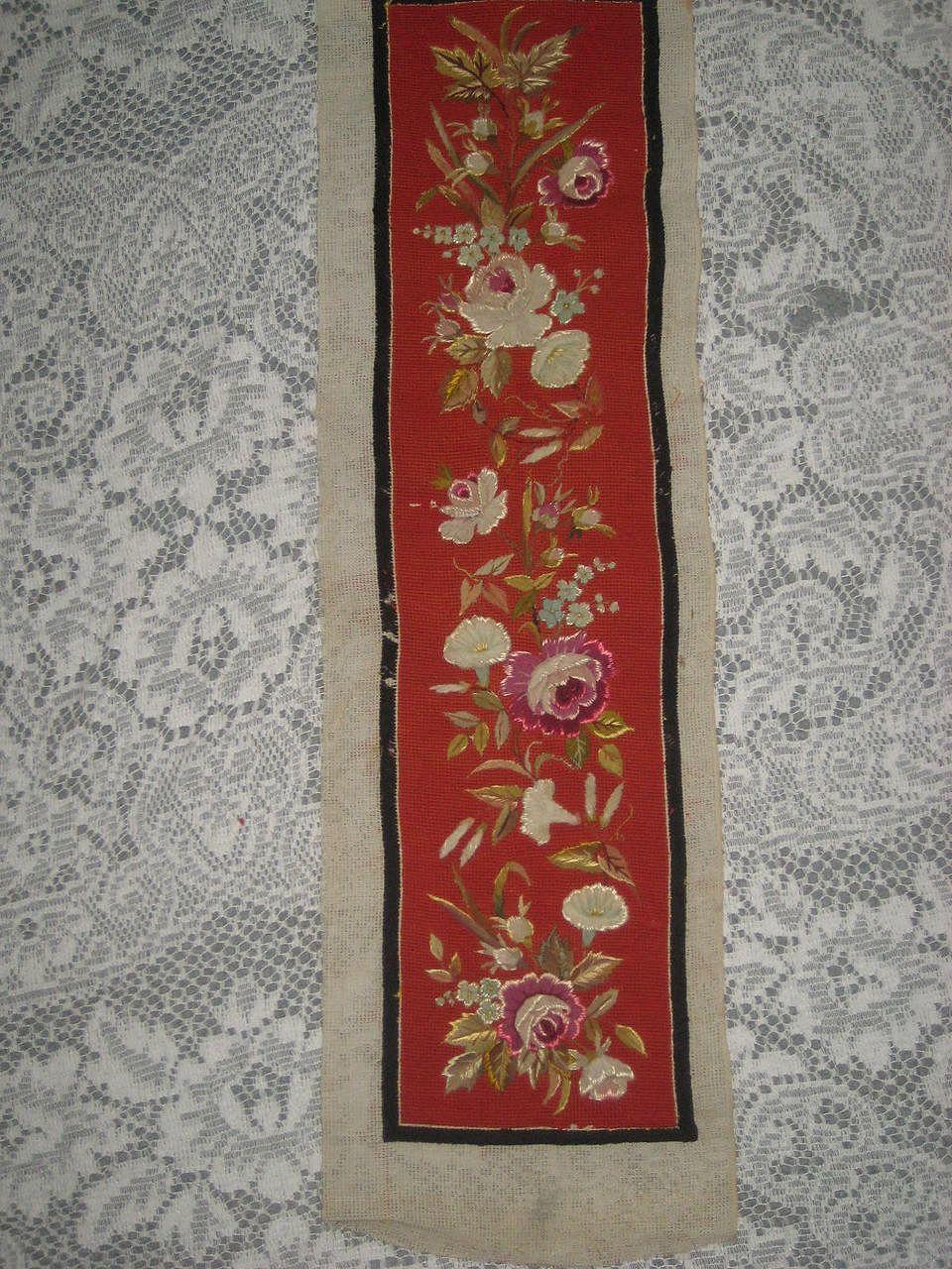 Museum quality antique 2 piece red floral needlepoint for Separation decorative entre 2 pieces