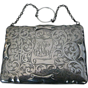 1912 Engraved Birmingham STERLING SILVER Finger Ring Dance PURSE by P & S Ltd.