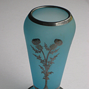 C. 20's Rockwell Blue Satin Glass Silver Overlay Vase w/Thistle Flowers, Numbered