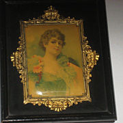 1900's Shadow Box Frame w/Celluloid Lady Picture & Ornate Gold Metal Trim