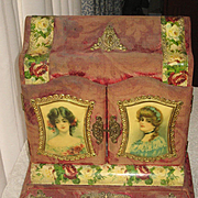 Victorian Celluloid Upright Manicure Case/Box w/Young Ladies & Roses