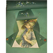Victorian Celluloid Frame w/Beautiful Young Woman & HP Flowers