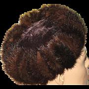 1940's Brown Mink Pill Box Hat