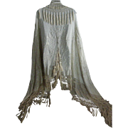 1900's Canton Silk Embroidered Wedding Shawl Cape Cloak w/Tassels-HUGE-Full Length