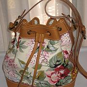 1980's Ralph Lauren Floral Bucket Bag Purse w/Lilacs, Roses-Near Mint