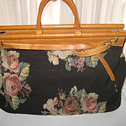 Huge 1980's Ralph Lauren Black Floral Tapestry Travel Tote Bag