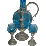 Antique Glass & Pewter Decanter Pitcher w/Cherubs & 2 Cordial Glasses