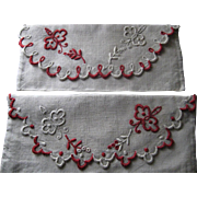 Two '20's French Hand Embroidered Linen Hanky Jewelry Holders